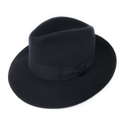 Women's Wool Snap Brim Navy Fedora Hat - Midford